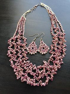 Women beaded jewelry necklace necklace and earrings set by fatash1