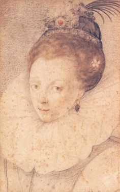 Elizabeth I c1570s, attributed to Federico Zuccaro. This sketch can be viewed at Sudeley Castle.