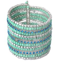 Blue and Silver Beaded Flexi Cuff Bangle with Crystals