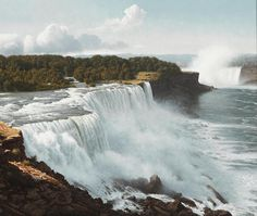 """""""Over the Brink (Niagara Falls),"""" James A. Fetherolf, oil on canvas, 20 x 24"""", private collection. Natural Wonders, Virtual Tour, American Artists, Continents, Niagara Falls, Oil On Canvas, All About Time, Tours, Fine Art"""