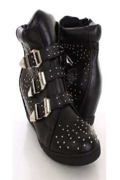 b6e44278766 Black Faux Leather Studded Sneaker Wedges Black Wedge Sneakers