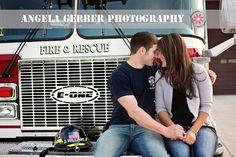 Firefighter engagement photo  by Angela Gerber Photography #engagement #wedding #firefighter