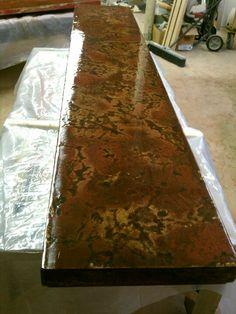 Concrete bar top in process