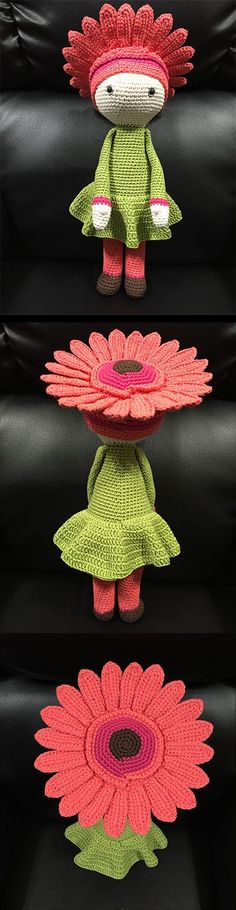 This is adorable. You can find this pattern for Gerbera Gemma and many other sweet little flower babies (for a wee fee) at zabbez.