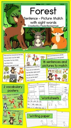 Ideal for a kindergarten or first grade reading center, Forest Sentence Picture Match includes bears, deer, raccoons, squirrels, owls, rabbits and foxes in sight word rich sentences. Directions, answer keys, 2 pages of forest vocabulary, thematic writing paper, and 4 follow up worksheets are included. TpT $  @primaXOXO @cesarXOXOXO @seanXOXOXOXO @emmaruthXOXO @krisOXOXOXO @michaelOXOXO @JonXOXOXO