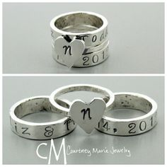 Custom wide band stackers complete with wedding anniversary date!