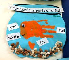 ocean fun---fantastic labelling activity! And cute handprint fishy :)