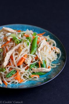 Rice Noodles with Chicken, Asparagus and Soy Ginger Sauce
