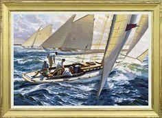 "Russ Kramer. The Joy of Sailing: CARA MIA and the New York 30's of 1905. J. Russell Jinishian Gallery, Inc.... 30"" X 44"""