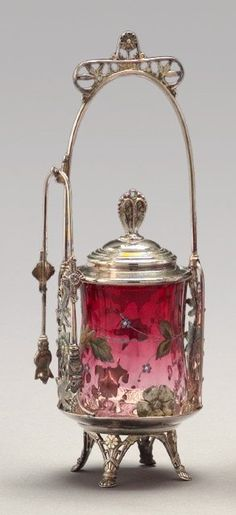 Lot: 960: American Rubina Glass Pickle Jar-on-Stand,, Lot Number: 0960, Starting Bid: $50, Auctioneer: New Orleans Auction, St. Charles Gallery, Inc., Auction: Spectacular Winter Sale, Date: November 23rd, 2008 EST