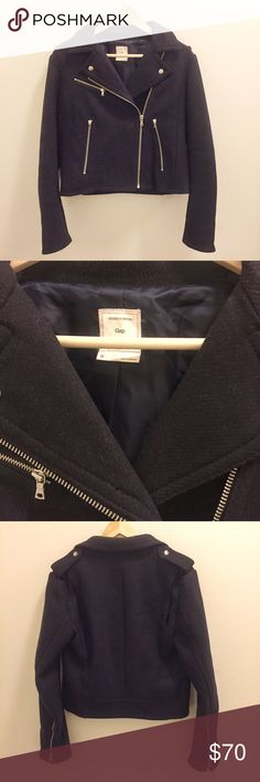 Gap Navy Wool Moto Zip Jacket Gap Navy Wool Moto Zip Jacket. Fully lined. Size Medium, fits small and cropped (at least for me, I'm 5'11). Lightly worn. Great condition. GAP Jackets & Coats