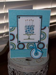 Blooming Blue Cake using Stampin Up Blooming with Happiness