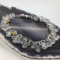 Sterling Silver Charm Bracelet with Quartz Hearts and Rainbow Swarovski Crystals £38.00