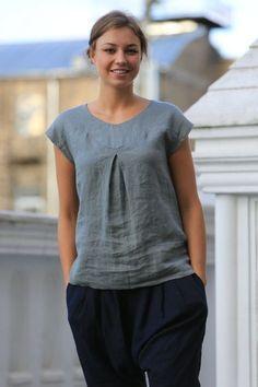 Blusa de lino. Blusa de lino lino superior / Natural / lino