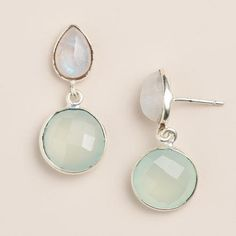 One of my favorite discoveries at WorldMarket.com: Moonstone and Aqua Double Drop Earrings