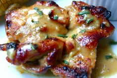 Maple, mustard and vinegar marinated Chicken.