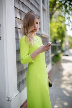 Neon Green Shift Dress