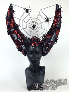 Horned Headdress with Spiders by MissGDesignsShop on Etsy
