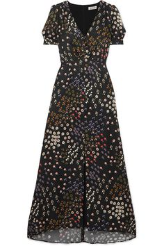 Multicolored flocked twill Concealed zip fastening along back viscose, silk; Modest Dresses, Pretty Dresses, Free Clothes, Clothes For Women, Haute Couture Dresses, Western Outfits, Dress Me Up, Ready To Wear, Black Bows