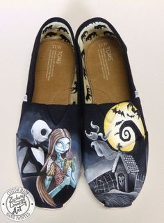 Custom designed hand painted Toms shoes inspired by Disneys The Nightmare Before Christmas    My custom painted shoes are hand painted with