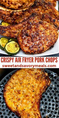 Easy Air Fryer Pork Chops Recipe [Video] - Sweet and Savory Meals Air Fryer Recipes Pork Chops, Air Fry Pork Chops, Air Fryer Oven Recipes, Air Frier Recipes, Air Fryer Dinner Recipes, Pork Recipes, Cooking Recipes, Healthy Recipes, Chicken Recipes