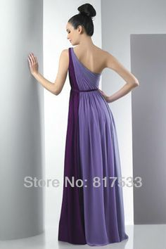 bridesmaid dresses chiffon one strap multi colored prom dress purple pleated slender belt floor length long-in Bridesmaid Dresses from Appar...