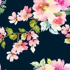 Spring Floral Watercolor on Dark Background Wallpaper Mural - 100W x 100H