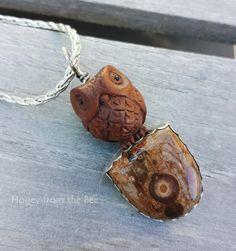 Owl Pendant featuring Ojime owl Orbicular Rhyolite and