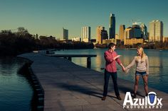 Engagement portraits from the new boardwalk in Austin, Texas around Lady Bird Lake.   See more of our work at www.azulox.com