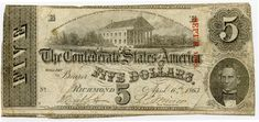 1863 $5.00 Confederate States of American T60 - Fine Condition  Type: Confederate States of American  Denomination: $5.00 Series: April 6, 1863 Serial Number: 1104? Unable to see the last digit clear.  Catalog Reference: T-60, 3-Plate Signatures: Yes Condition: Fine  Capital at Richmond  Note has Red redemption stamps Sept'r 1863.   Note has 2 redemption cancellations cuts that do not show up in the pictures.