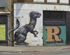On the corner of Old Street.   #roa - More #streetart at www.Streetart.nl