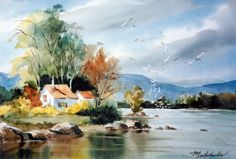 Watercolor Barns, Watercolor Mixing, Watercolor Sunset, Watercolor Landscape Paintings, Watercolor Pictures, Watercolor Sketch, Watercolor Portraits, Watercolour Painting, Pictures To Paint