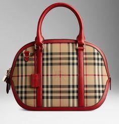 Handbag The Orchard Burberry in pelle rossa