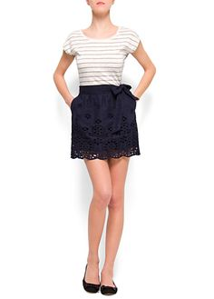 striped shirt & navy lace skirt