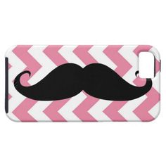 Funny Black Mustache And Pink Chevron Pattern iPhone 5 Cover