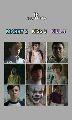 Marry Mike and Eddie, kiss Stanley Richie and Bill, kill Georgie Ben Bev and Pennywise Horror Movies Funny, Scary Movies, Good Movies, Haha Funny, Funny Memes, It Movie 2017 Cast, Badass Movie, Karel Gott, Citations Film
