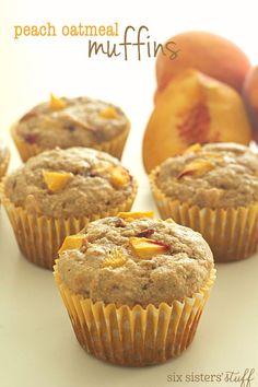 Peach Oatmeal Muffins on SixSistersStuff.com