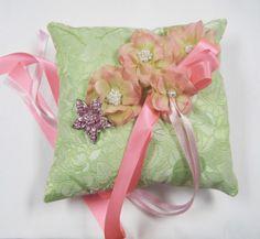 Ring Bearer Pillow Luxe Green Brocade Pink Flowers by Weddingzilla, $39.00