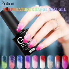 Zation Thermische Nial Gel Kameleon Nagellak Temperatuurverandering Kleur UV Gel Nail Art Polish Bling Enamel Thermo Vernis Hybrid