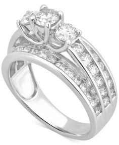 Diamond Trinity Channel-Set Engagement Ring (2 ct. t.w.) in 14k White Gold | macys.com