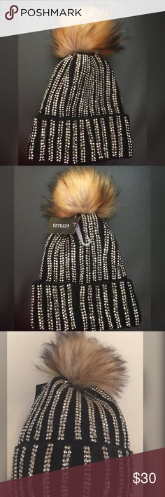 Bling bling Beanie  The very stylish and full of shining blings all over the beanie cap with faux pom Pom . Brand new . Accessories Hats