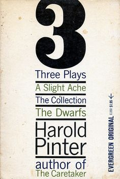 3 Plays by Harold Pinter. Grove Press, 1962. Cover by Roy Kuhlman. www.roykuhlman.com
