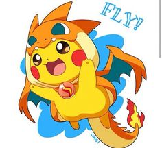 Pikachu as Charizard