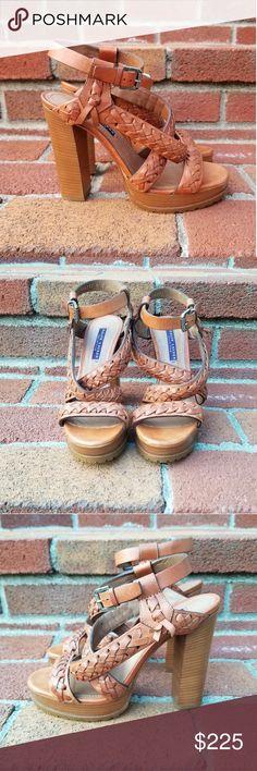 4c34b6ef5212c5 NWOB Ralph Lauren Collection Cognac Sandals Gorgeous braided cognac leather  sandals with a block heel