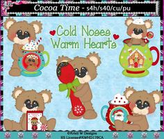 Cocoa Time Bears  Christmas Holiday Digital Clip Art by CapZone