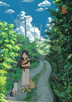 Aesthetic Art, Aesthetic Anime, Studio Ghibli Art, Japon Illustration, Anime Scenery Wallpaper, Estilo Anime, Anime Art Girl, Landscape Art, Japanese Art