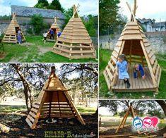 Top 23 Surprisingly Amazing DIY Pallet Furniture For The Kids Diy Tipi, Pallet Patio Furniture, Recycled Furniture, Pipe Furniture, Furniture Design, Teepee Tutorial, Pallet Playhouse, Rustic Planters, Vintage Industrial Furniture