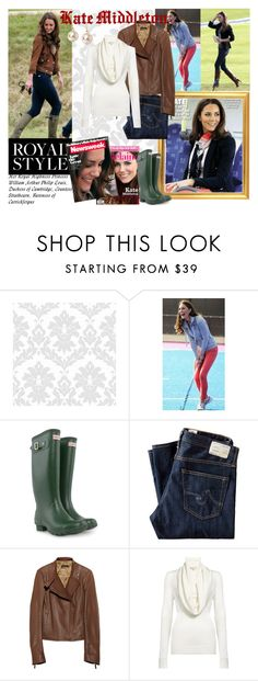 """""""Kate Middleton"""" by polyvorebr ❤ liked on Polyvore featuring J Brand, Pippa, Hunter, AG Adriano Goldschmied, The Row, MICHAEL Michael Kors, Episode, street style, hunter boots and jeans"""