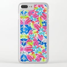 Kissing in Kona Clear iPhone Case by Vikki Salmela, new #tropical #vintage #airbrush #floral on #Hawaiian #quilt #pattern #art, for #tech #accessories. Clear #iPhone cases, #phone cases, #laptops, #iPad cases and more.