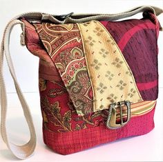 Bohemian Handbags - Patchwork Bags - Burgundy Red and Gold - Crossbody Bag - Eco Friendly Bag - Vegan Bag - Boho Tote Bag - Birthday Gift by BellesabyBethany on Etsy Handmade Clothes, Handmade Bags, Eco Friendly Bags, Cloth Belt, Crossbody Tote, Burgundy And Gold, Unique Bags, Patchwork Bags, Gold Print